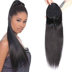 Grace Fantasy Hair black color drawstring ponytail hair pieces human hair straight texture no tangle no shedding 10-20 inch easy wear for daily use free shipping