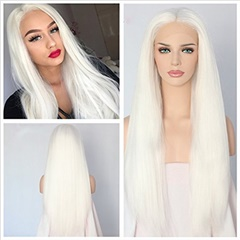 New White Color Sexy Italian Yaki Kinky Straight Synthetic Lace Front Wigs For Black Women Heat Resistant Kinky Straight Synthetic Wigs Heat Resistant