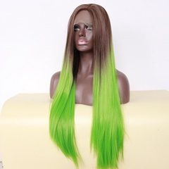 Ombre Silky Straight Synthetic hair Front Lace Wigs Brown Green TWO Tone Natural Part Hairline extra Long
