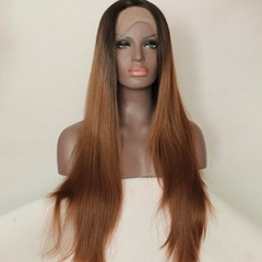 Free shipping ombre synthetic lace front wigs heat resistant natural black 20inch synthetic straight Lace wigs for black women