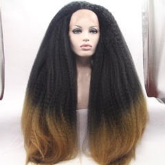 Black Ombre Blonde Kinky Straight Synthetic Wigs Long Straight Synthetic Lace Front Wigs for Black Women Heat Resistant Wigs