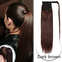 Grace Fantasy human hair remy hair extensions dark brown medium brown mix blonde ponytail   with wrape easy wear long length hight quality virgin hair ponytail