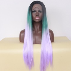 women's long synthetic fashion wigs Green to purple lace front wigs synthetic heat resistant
