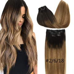 Grace Fantasy human hair clip in hair extensions brown to blonde remy hair pieces straight texture 8-26 inches 70 grems for women