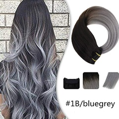Grace Fantasy human hair clip in extensions black to grey straight texture long length 8-26 inch 70 grems with clips can be dyed and curled for daily use