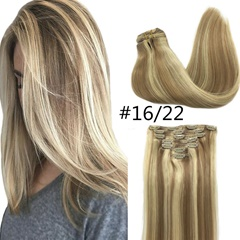 Grace Fantasy virgin human hair clip in extensions ombre blonde color  straight style hair pieces 8-26 inches 70 grems can be dyed and curled for women daily use