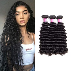 Curly human hair extensions 100g/bundle Remy Indian Virgin Deep Curly Human Hair Weft