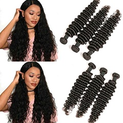 High quality no shedding no tangling Natural Black  indian hair extensions deep curly 8''--30''