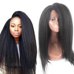 Top quality Unprocessed Brazilian virgin human hair Italian kinky yaki straight glueless full lace wigs & lace front wigs for black women