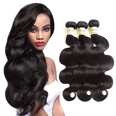Indian Body Wave Virgin Remy Human Hair Extensions 100G/bundle Natural Black 8''---30''