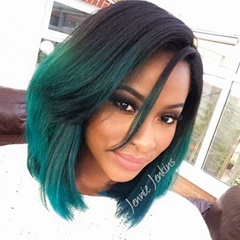Short lace front wigs synthetic hair ombre Balck to Green front lace wigs synthetic heat resistant