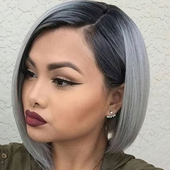 Fashion short lace front wigs synthetic hair two tone short lace wigs synthetic for African American black to grey