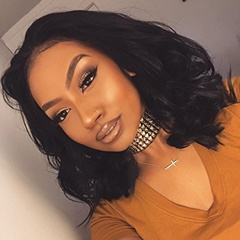 Natural black deep wave short bob lace front synthetic wigs for women premier synthetic short lace wigs 12inch