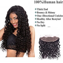 100% Brazilian Virgin Human Hair Water Wave Ear to Ear Lace Frontal Closure Curly Hair With Baby Hair Free Part Natural Black, 13x4 Full Front Lace Closure, 130 Density