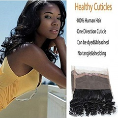 Loose Wave Human Hair Bundles With 13x4 Ear To Ear Lace Frontal Closure With Baby Hair Pre Plucked Hairline Bleached Knots Brazilian Virgin Hair less 130% Density with Baby Hair with Natural Black