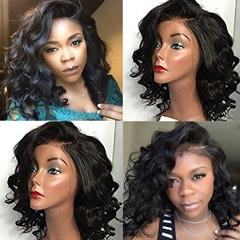 14inch African American Short Curly Wigs Synthetic Lace Front Middle Part Deep Curly Bob Wigs For Black Women Heat Resistant