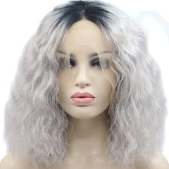 Dark Root Gray short lace Wigs Black to Silver Grey Deep Wave Lace Front Wigs Short Bob Wigs Glueless Synthetic Wigs For Women