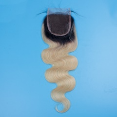 Dark Root #613 Lace Frontal Closures 4''x4'' Slightly Bleached Knots Brazilian lace closure body wave Free part Blonde Top Hair Closure