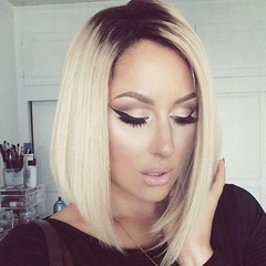 Celebrity Wig Beyonce Hairstyle short Bob synthetic lace front wigs Two tone black to blonde straight