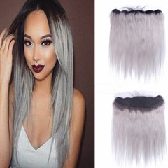 Grey Brazilian Lace Frontal Closure Free Shipping 13x4 Ear to Ear Lace Frontals #1B to Grey Silky Straight with Baby Hair Human Hair Lace Frontal Closure
