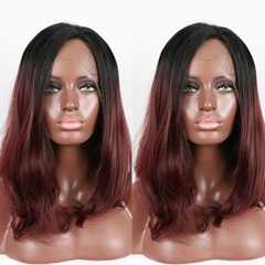heat resistant fiber natural Straight 99j# burgundy wine red color glueless synthetic lace front wigs Bleached knots