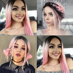 Peach Pink Short Bob Wigs For Women Heat Friendly Ombre Black To Pink Synthetic Lace Front Straight Wigs for Women With Baby Hair