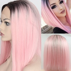 Glueless Natural Hairline Ombre Pink Straight Hair Wigs For Women Dark Roots Pink Synthetic Lace Front Wigs Heat Resistant Fiber