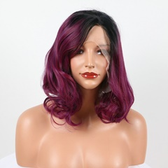 14'' 1B/Burgundy Wavy Bob Synthetic Lace Wigs Heat Resistant Fiber Hair Dark Root Wine Red Ombre Synthetic Lace Front Wigs
