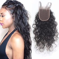 8a Unprocessed Hair Free Part Water Wave Lace Front Closures 4*4 Brazilian Water Wave Top Lace Closures with Baby Hair