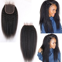8a Brazilian Kinky Straight Closure Coarse Yaki Virgin Human Hair Free Part Lace Closure Bleached Knots With Baby Hair