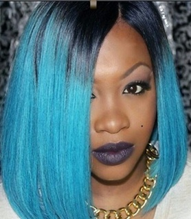 "Shoulder Length Short Wigs for Women 12"" Synthetic Straight Black Ombre Blue Bob Synthetic Lace front Wig"