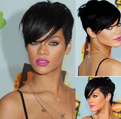 Celebrity Rihanna Hair Style Natural Color Straight Brazilian No Lace Human Hair Wigs Short Wigs for Women With Bangs