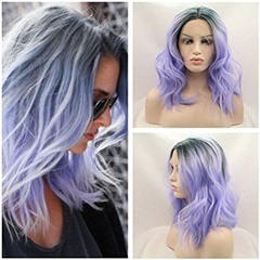 Short Glueless Lace Front Synthetic Hair Wigs With Baby Hair Ombre Bob Wigs For Women Bleached Knots Dark Root Purple Color