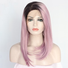 Heat Resistant Fiber hair Ombre pink Bob Silk Synthetic Lace Front Wigs Synthetic Straight Hair Natural Looking Shoulder Length Wig Heat Resistant Middle Parting Wig