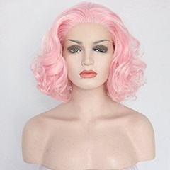 Curly Short Bob Pink Wigs for Women Short Synthetic Hair Lace Front Wigs with Baby Hair Peach Pink Glueless Lace Wigs