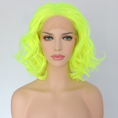 Yellow Short Curly Synthetic Lace Front Wigs Free Parting Bob Hairstyle Heat Resistant Fiber Hair Replacement Wig for Wen
