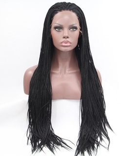 Synthetic expression black glueless box braided lace front wigs for African American synthetic lace front braided wigs women wigs