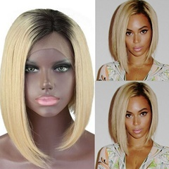 Heat resistant hair two tone short Bob synthetic lace front wigs ombre black to blonde short lace front wigs