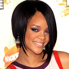Celebrity Rihanna Hairstyle Short Lace Front Wigs Natural Black Bob Cut Short Synthetic Lace Wigs Straight glueless lace front wigs with straps and combs