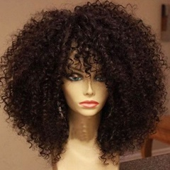 Glueless Kinky Curly Synthetic Lace Front Wigs With Bangs for Black Women Celebrity African American Synthetic Hair Wigs Synthetic Curly Lace Front Wig