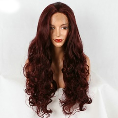 Wine Red Bouncy Body Wave Long Synthetic Lace Front Wigs #99J Color Natural Hairstyle Glueless Synthetic Lace  Front Wig For Women