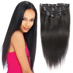 Natural Color 100% Virgin Remy Clip In Human Hair Extensions Malaysian Virgin Hair Silky Straight Clip In Extensions 8pcs/set 120gram Clip ins  Full Head