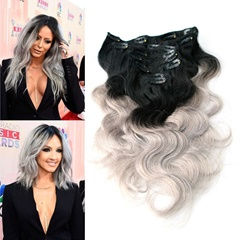 Ombre Brazilian Colored Hair Extension Clips Body Wave Silver Grey Clip In 8Pcs 1B/gray Virgin Remy Ombre Clip Hair Extensions Full Head