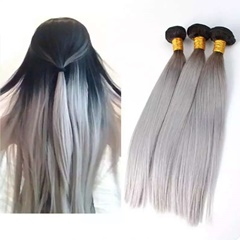 Grace Fantasy 100% Unprocessed Cheap Wholesale Peruvian Hair Weave Virgin Human Hair Extensions 1B Grey color Weft Hair Extensions Long Silky Straight Human Hair