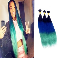 Three Tone hair extension Ombre Weave 1B Blue Green Peruvian Long Silky Straight 100% Unprocessed Peruvian Virgin Human Weft Hair Extensions