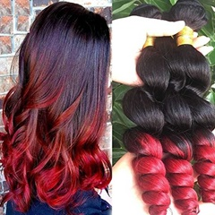 Grace Fantasy 1B Burgundy Human Hair Mongolian Hair Weave Loose Wave Weft Hair Extensions Soft And Silky Loose Wave