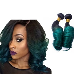 2 Bundles T 1b Green 2 Tone Color 7A Virgin Unprocessed Human Hair Indian Hair Extension Ombre Curly Hair Braiding Weft Hair Extensions