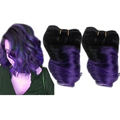 100% Remy Tape in Human Hair Extensions Short 1B purple spring curl Weft Indian Hair Virgin Hair Extensions Soft Shiny and Fashion