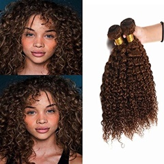 Mongolian Hair Weave Jerry Curl Weft Hair Extensions Soft And Silky Curly Unprocessed Human Hair Light Brown Weft Hair Extensions #4 Color Human Hair Extensions