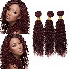 100% Unprocessed Peruvian Human Hair Weave Purplish Red Human Hair Extensions #99j Color Weft Hair Extension Jerry Curly Remy Human Hair Wefts